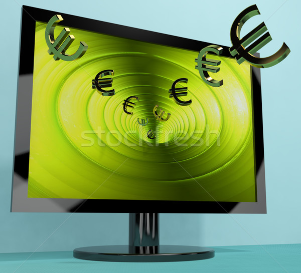 Euro Symbols From Computer Screen Showing Money Investments And Stock photo © stuartmiles