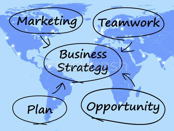 Stok fotoğraf: İş · stratejisi · diyagram · takım · çalışması · plan · iş