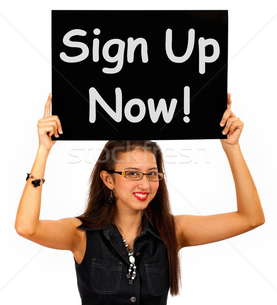 Sign Up Now Message Shows Immediate Registration  Stock photo © stuartmiles