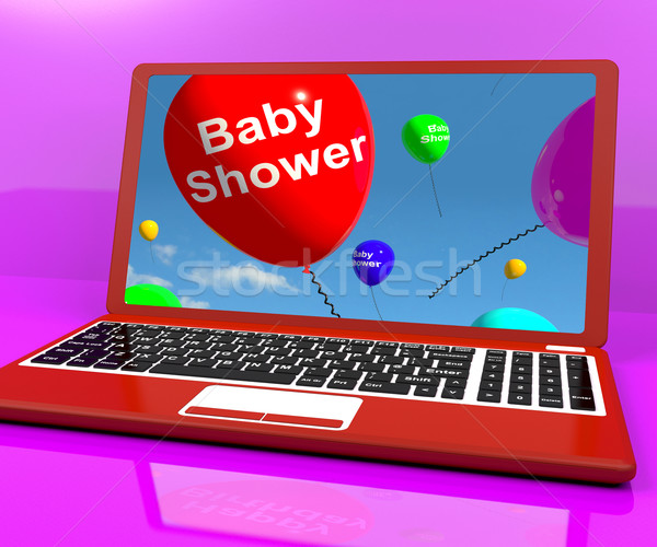 Baby Shower Balloons On Laptop As Birth Party Invitation Stock photo © stuartmiles