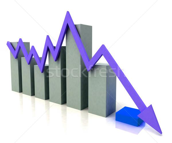 Oszlopdiagram kék nyereség vonal költségvetés mutat Stock fotó © stuartmiles