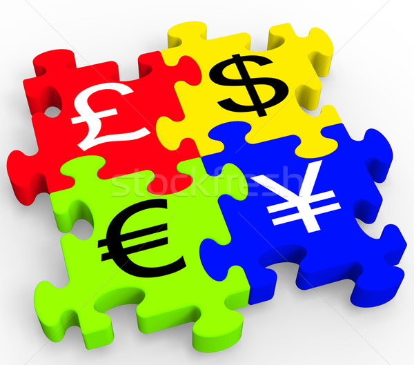 Currency Symbols Puzzle Showing Forex Stock photo © stuartmiles