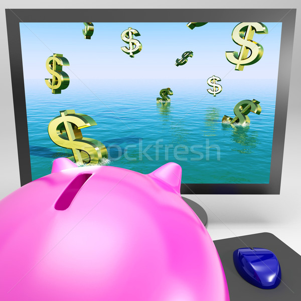 Dollar Symbols Drowning On Monitor Showing Financial Disaster Stock photo © stuartmiles
