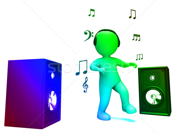 Dancing Disco Character Shows Loud Speakers And Songs Stock photo © stuartmiles