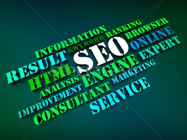 Seo Words Show Search Engine Optimization Or Optimizing Online Stock photo © stuartmiles