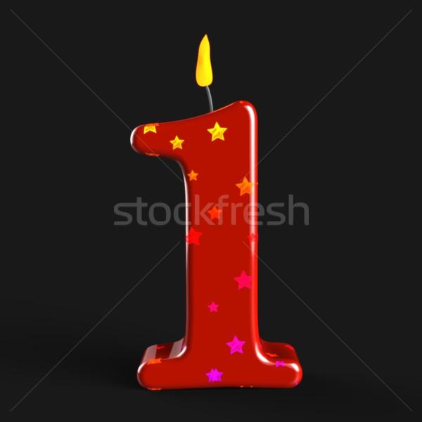 Legelső gyertya egy év évforduló születésnap Stock fotó © stuartmiles