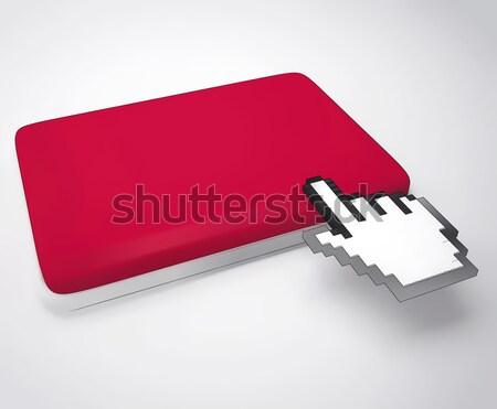 Cursor Hand On Key Background Shows Blank Copyspace Click Stock photo © stuartmiles