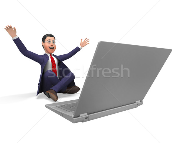 Businessman Overwhelmed Means Dazed Happy And Trade Stock photo © stuartmiles