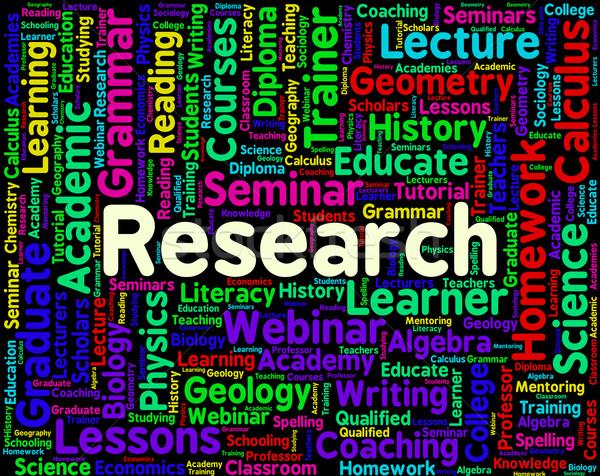 Onderzoek woord gegevens exploratie informatie tonen Stockfoto © stuartmiles