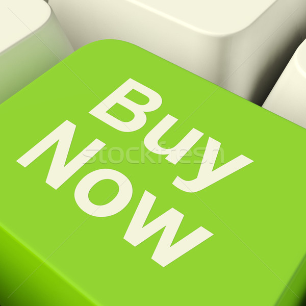 Buy Now Computer Key In Green Showing Purchases And Online Shopp Stock photo © stuartmiles