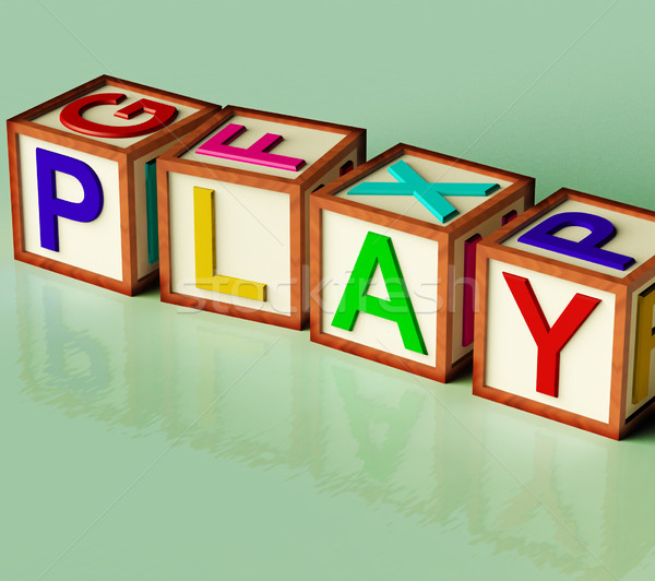 Kids Blocks Spelling Play As Symbol for Fun And School Stock photo © stuartmiles