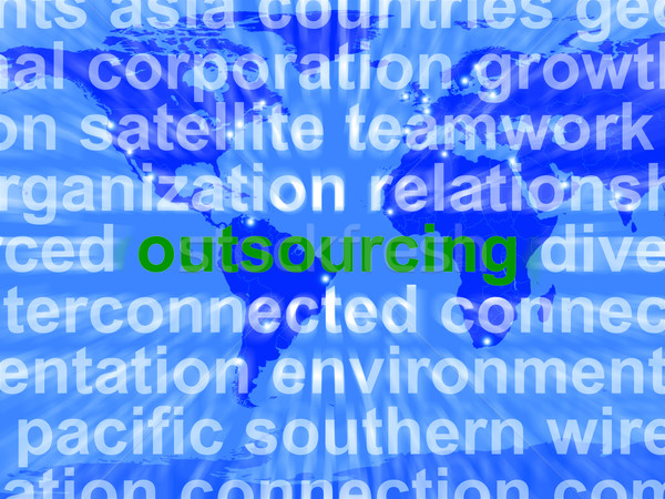 Outsourcing Word Meaning Subcontracting Offshoring Or Freelance Stock photo © stuartmiles