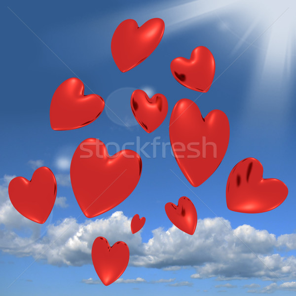 Hearts Falling From The Sky Showing Love And Romance Stock photo © stuartmiles