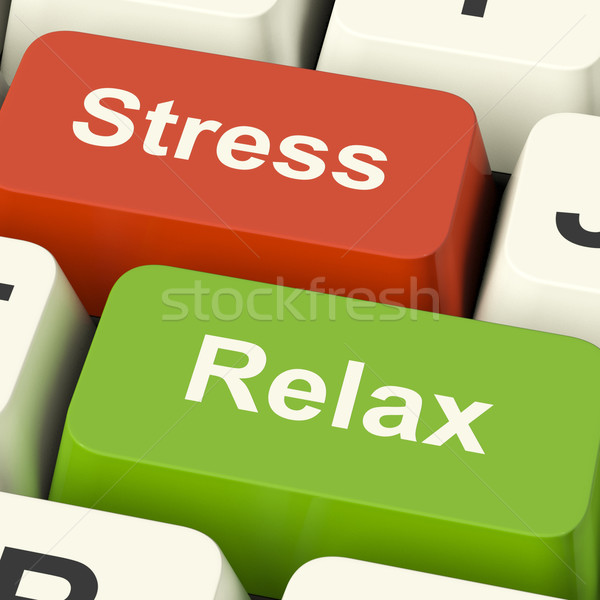 Stress Relax Computer Keys Showing Pressure Of Work Or Relaxatio Stock photo © stuartmiles