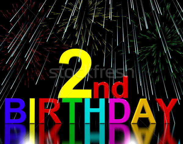 Second Or 2nd Birthday Celebrated With Fireworks Stock photo © stuartmiles