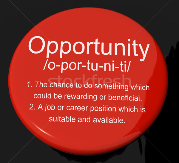 Opportunity Definition Button Showing Chance Possibility Or Care Stock photo © stuartmiles