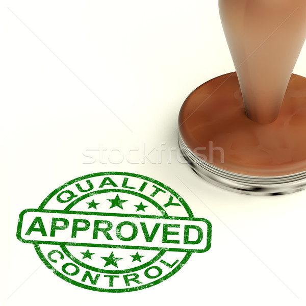 Stock photo: Quality Control Approved Stamp Shows Excellent Products