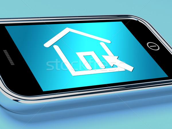 家 シンボル 携帯 画面 不動産 ストックフォト © stuartmiles