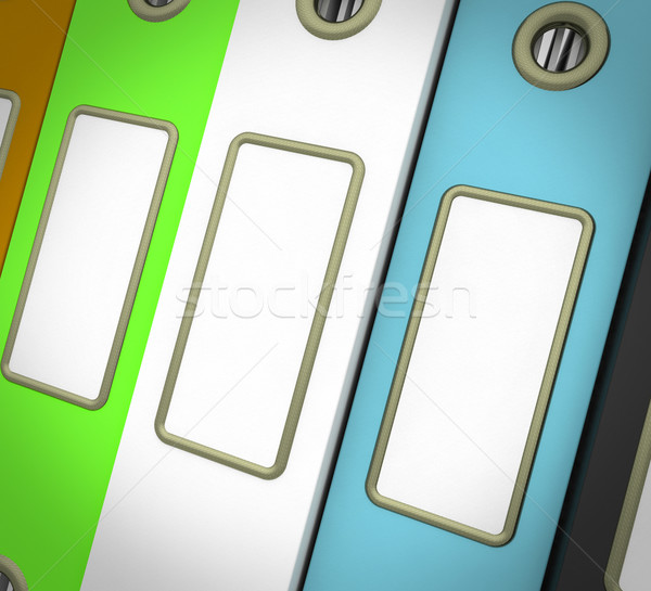 Rij drie bestanden georganiseerd kleurrijk papier Stockfoto © stuartmiles