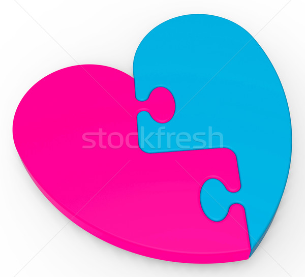 Two-Colored Heart Puzzle Shows Marriage Stock photo © stuartmiles