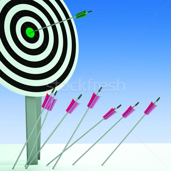 Arrow On Dartboard Showing Efficiency Stock photo © stuartmiles