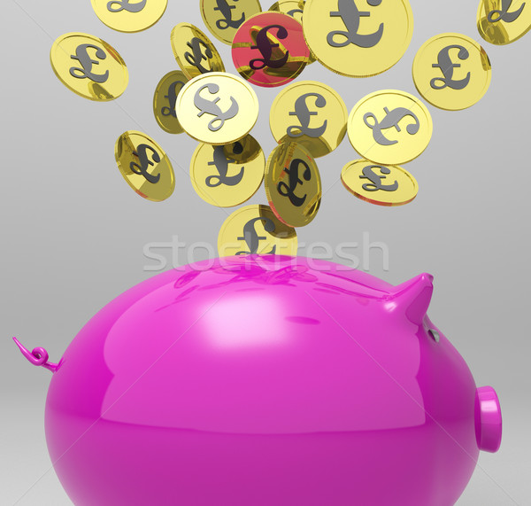 Coins Entering Piggybank Shows Britain Investments Stock photo © stuartmiles