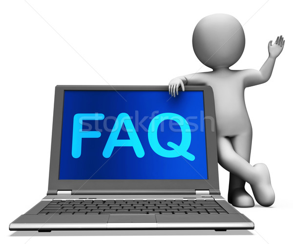 Faq Laptop And Character Shows Solution And Frequently Asked Que Stock photo © stuartmiles