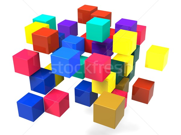 Exploding Blocks Shows Scattered Puzzle Stock photo © stuartmiles
