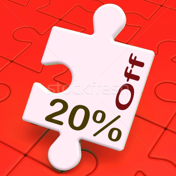 Dwadzieścia procent puzzle redukcja sprzedaży Zdjęcia stock © stuartmiles