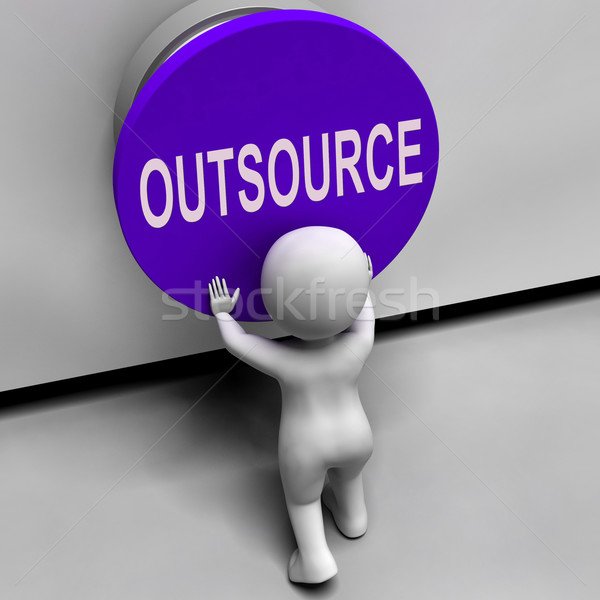 Outsource Button Means Freelancer Or Independent Worker Stock photo © stuartmiles