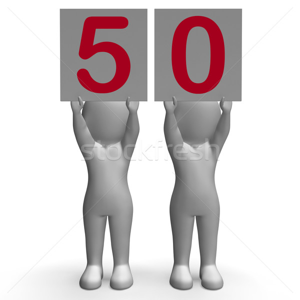 Fifty Banners Mean Anniversary Or Birthday Stock photo © stuartmiles