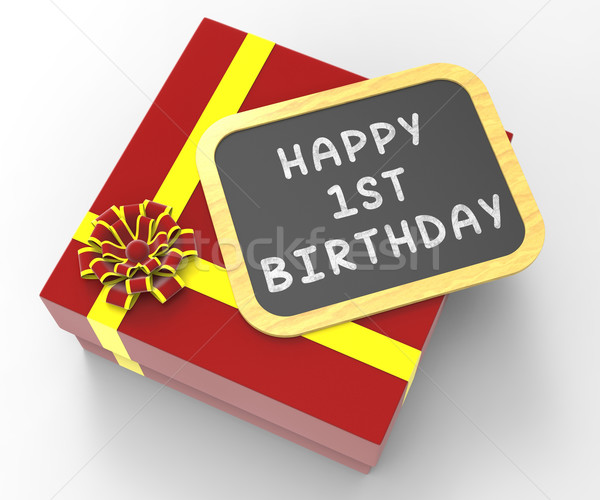 Happy First Birthday Present Shows Special Celebration And Festi Stock photo © stuartmiles
