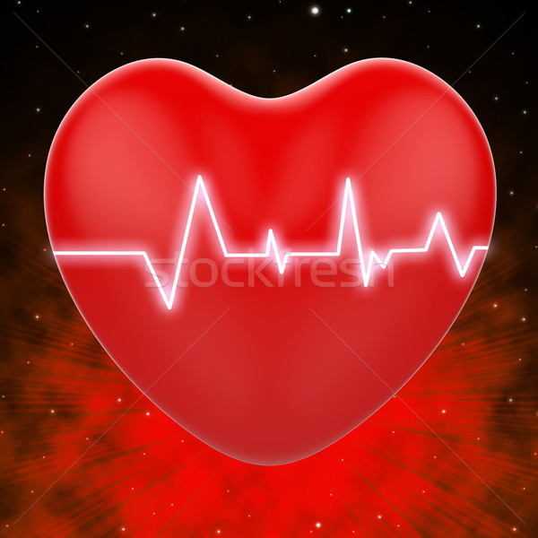 Electro On Heart Shows Heart Pressure Or Extreme Passion Stock photo © stuartmiles