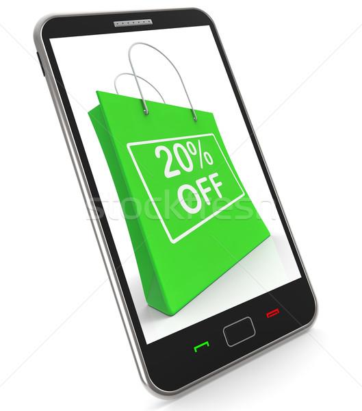 Shopping Bag Shows Sale Discount Twenty Percent Off 20 Stock photo © stuartmiles