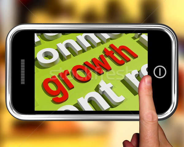 Growth In Word Cloud Phone Means Get Better Bigger And Developed Stock photo © stuartmiles
