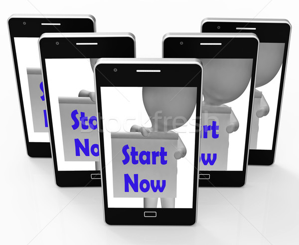 Start Now Phone Shows Begin Or Do Immediately Stock photo © stuartmiles