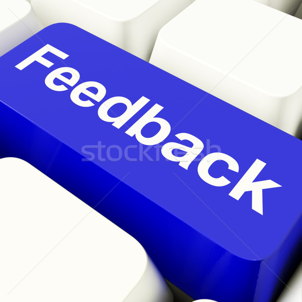 Feedback Computer Key In Blue Showing Opinions And Surveys Stock photo © stuartmiles
