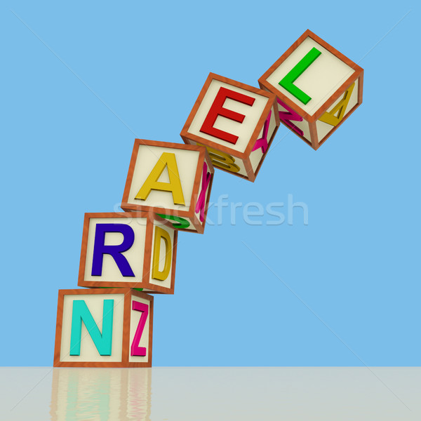 Kids Blocks Spelling Learn Falling Over As Symbol for Study And  Stock photo © stuartmiles