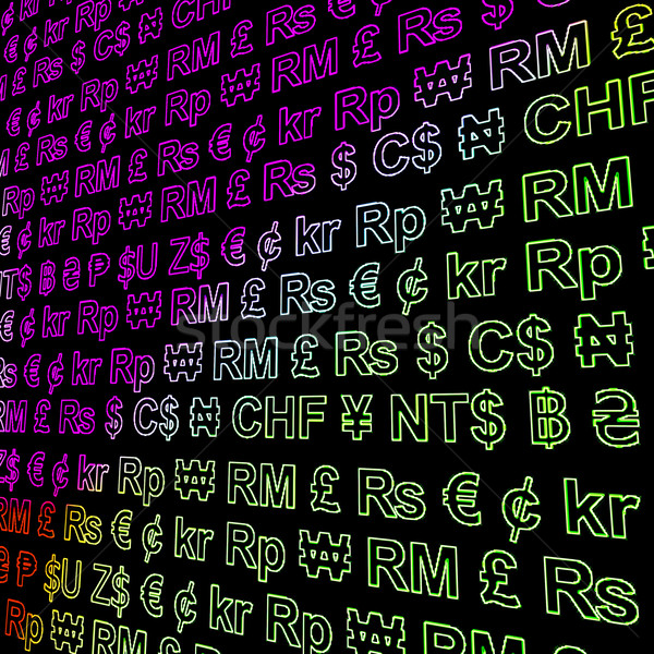 Currency Symbols Glowing In Colors Showing Exchange Rates And Fi Stock photo © stuartmiles