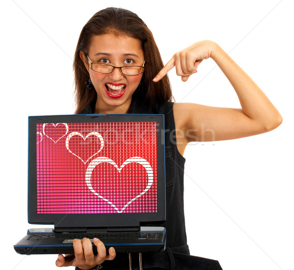Hearts On Computer Screen Showing Online Dating Stock photo © stuartmiles
