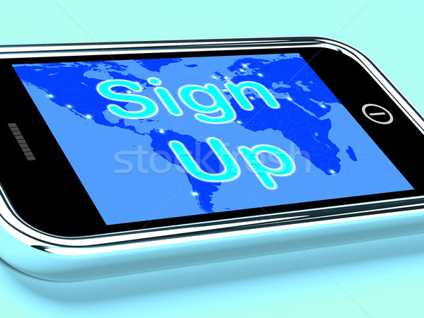 Sign Up Mobile Screen Shows Online Registration Stock photo © stuartmiles