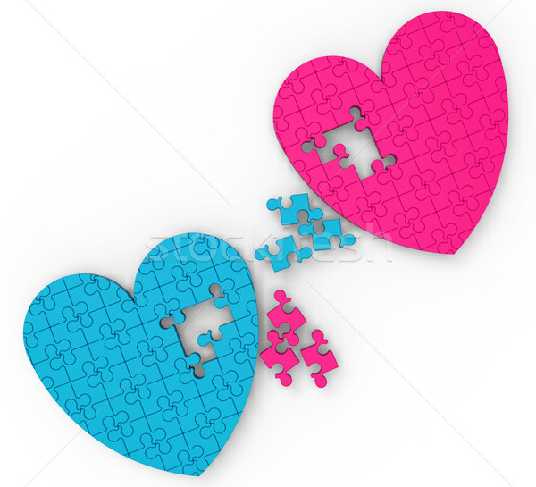 Two Hearts Puzzle Shows Romance And Commitment Stock photo © stuartmiles