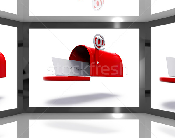 Mailbox On Screen Shows Electronically Mailing Stock photo © stuartmiles