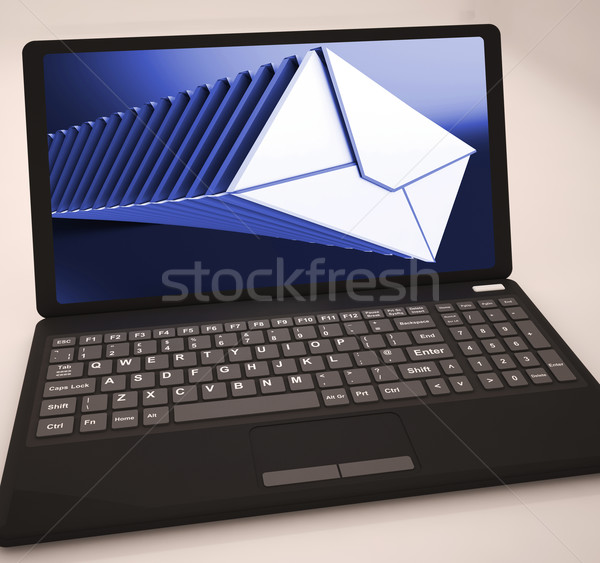 Mails List At Laptop Shows Ongoing Messages Stock photo © stuartmiles