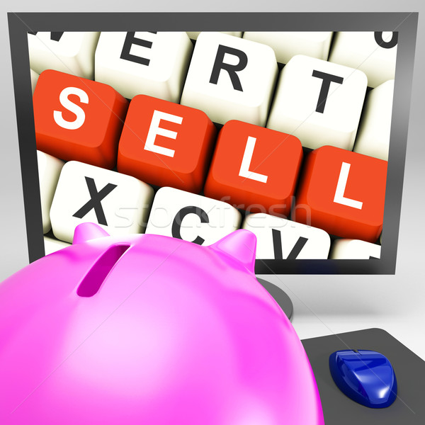 Verkopen sleutels monitor tonen online marketing commerce Stockfoto © stuartmiles