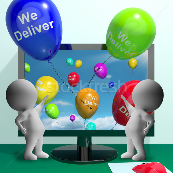 We Deliver Balloons From Computer Showing Delivery Shipping Or L Stock photo © stuartmiles