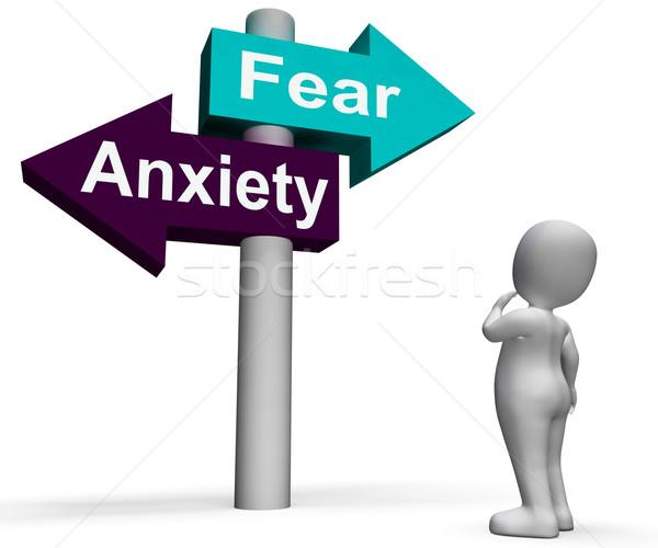 Stockfoto: Angst · angst · wegwijzer · paniek · tonen · stress