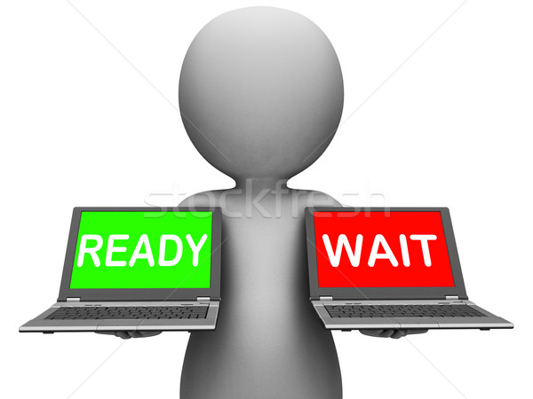 Ready Wait Laptop Means Prepared  and Waiting Stock photo © stuartmiles