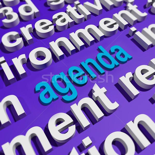 Agenda woordwolk schema programma tonen Stockfoto © stuartmiles