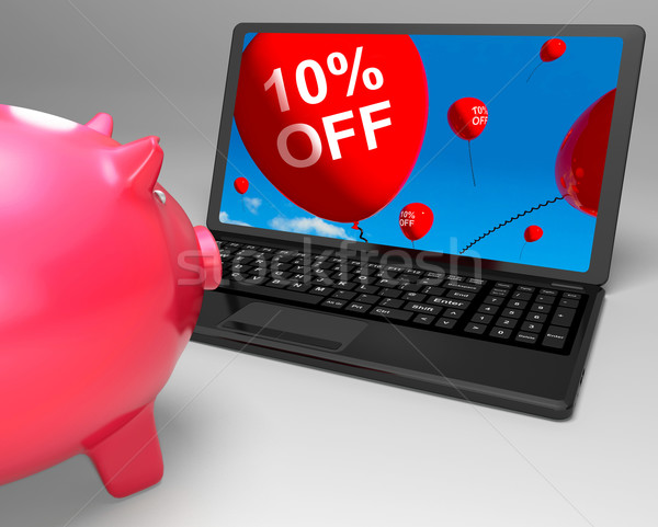 Ten Percent Off Laptop Means Online Sale And Bargains Stock photo © stuartmiles